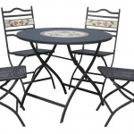 Leisuregrow South Cape 90cm Round Folding 4 Seater Dining Set