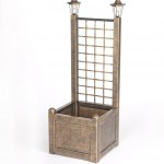 Greenhurst Trellis Planter with 2 Solar Lights Bronze