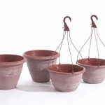 Greenhurst Pack 2 Textured Planters + 2 Hanging Baskets Terracotta