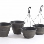 Greenhurst Pack 2 Textured Planters + 2 Hanging Baskets Antique Gold