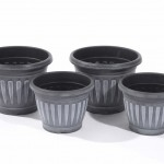 Greenhurst Pack of 4 Georgian Style Black Planters