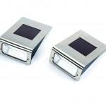 Powertek Pack of 2 Solar Wall Lights Stainless Steel
