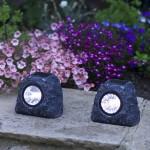 Smart Solar Solar Rock Spotlight Granite Effect 4pk White LEDs