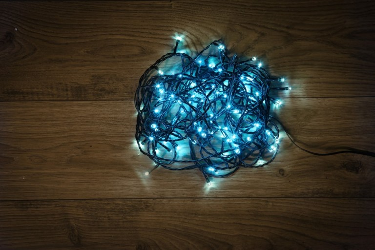 ice blue 120 led multi effect light chain with green cable 8cm bulb spacing and 5 metre lead cable the 8 function controller allows you to personalise